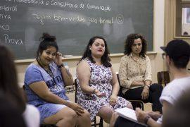 Egressas dos cursos de Comunicação Social da Ulbra, Anapaula, Bruna e Cristiane. Imagem: Larissa Ferreira